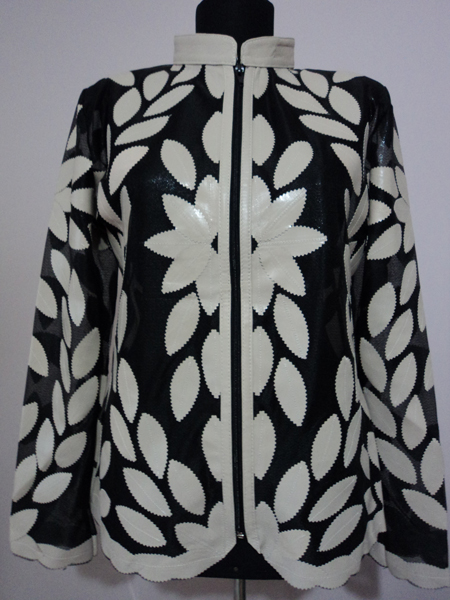 Beige Leather Leaf Jacket Women Design Genuine Short Zip Up Light Lightweight