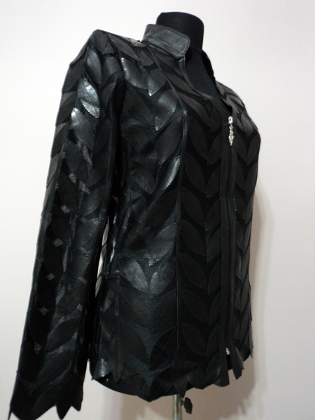 Black Leather Leaf Jacket Women Design Genuine Short Zip Up Light Lightweight