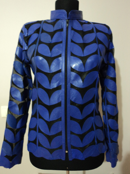 Blue Leather Leaf Jacket