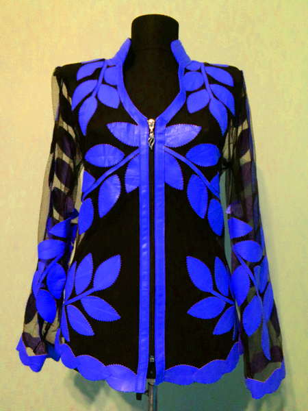 Blue Leather Leaf Jacket Women Design Genuine Short Zip Up Light Lightweight