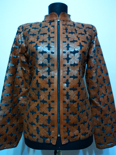 Brown Leather Leaf Jacket Women Design Genuine Short Zip Up Light Lightweight