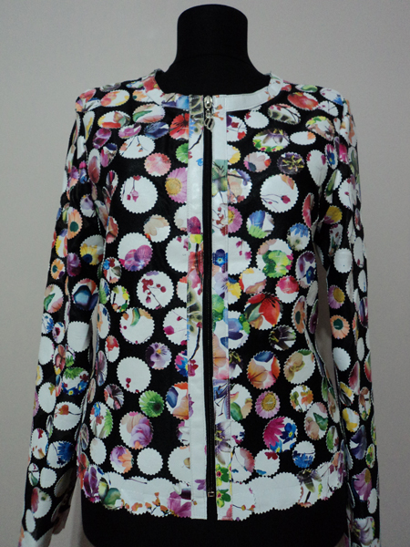 Flower Pattern White Leather Leaf Jacket for Womens Design 07 Genuine Short Zip Up Light Lightweight [ Click to See Photos ]