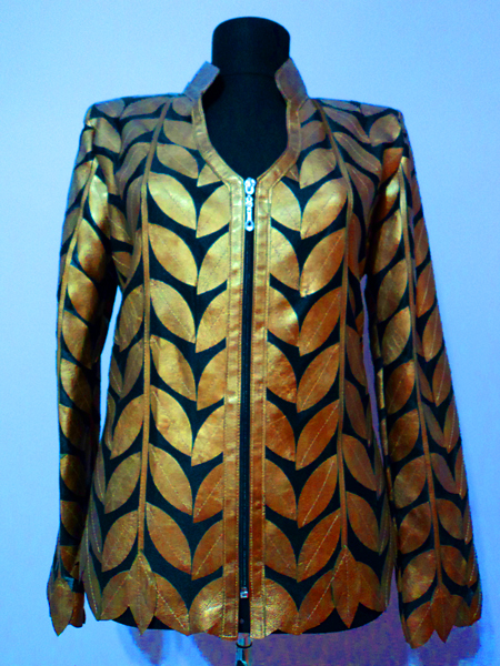 Gold Leather Leaf Jacket for Women V Neck Design 08 Genuine Short Zip Up Light Lightweight