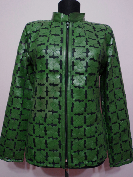 Green Leather Leaf Jacket for Women Design 06 Genuine Short Zip Up Light Lightweight [ Click to See Photos ]