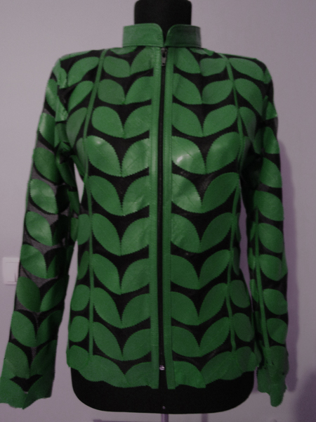 Green Leather Leaf Jacket Women Design Genuine Short Zip Up Light Lightweight