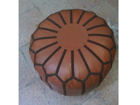 Green Leather Pouffe Pouf Puff Footstool Ottoman [ Click to See Photos ]