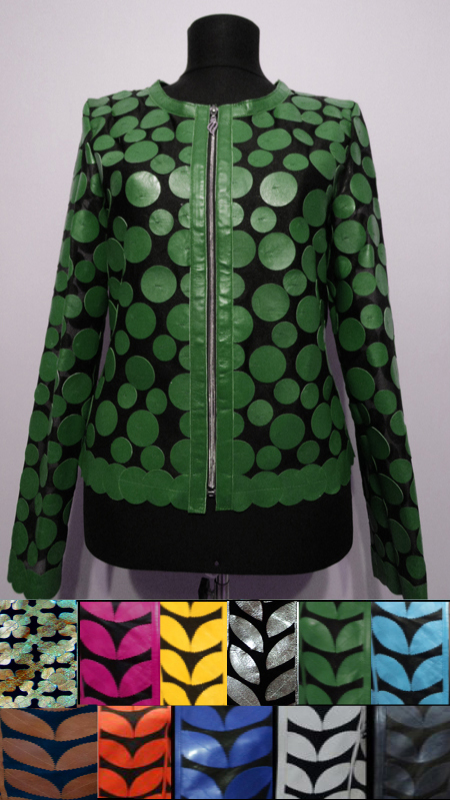 Leather Leaf Jacket for Womens Design 07 Genuine Short Zip Up Light Lightweight [ Click to See Photos ]