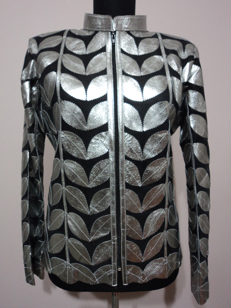 Leather Leaf Jacket Women Design Genuine Short Zip Up Light Lightweight