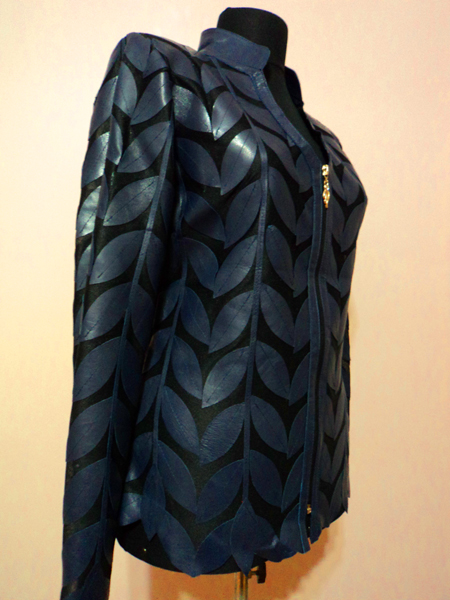 Navy Blue Leather Leaf Jacket Women Design Genuine Short Zip Up Light Lightweight