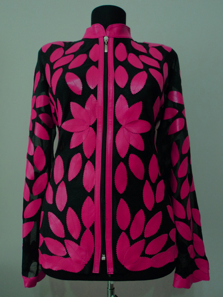 Pink Leather Leaf Jacket Women Design Genuine Short Zip Up Light Lightweight