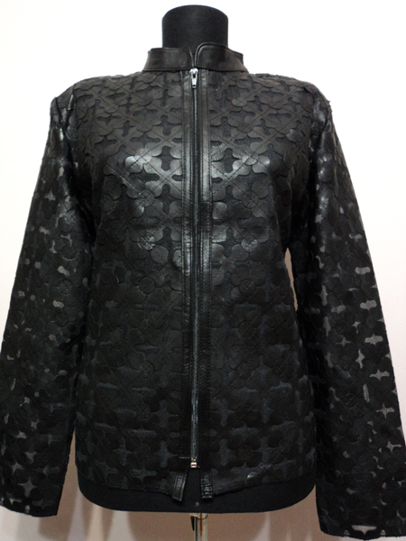Plus Size Black Leather Leaf Jacket for Women Design 06 Genuine Short Zip Up Light Lightweight [ Click to See Photos ]