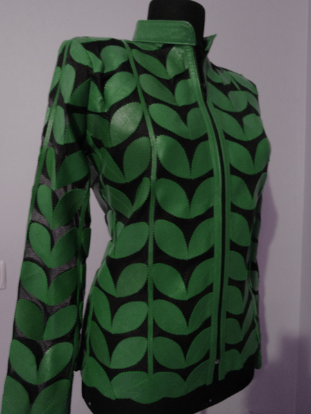 Plus Size Green Leather Leaf Jacket Women Design Genuine Short Zip Up Light Lightweight