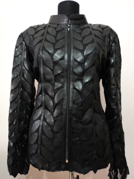 Plus Size Leather Leaf Jacket Women Design Genuine Short Zip Up Light Lightweight