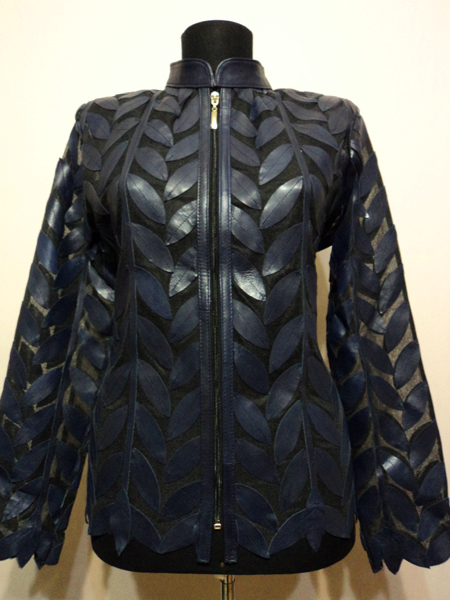 Plus Size Navy Blue Leather Leaf Jacket for Women Design 04 Genuine Short Zip Up Light Lightweight [ Click to See Photos ]