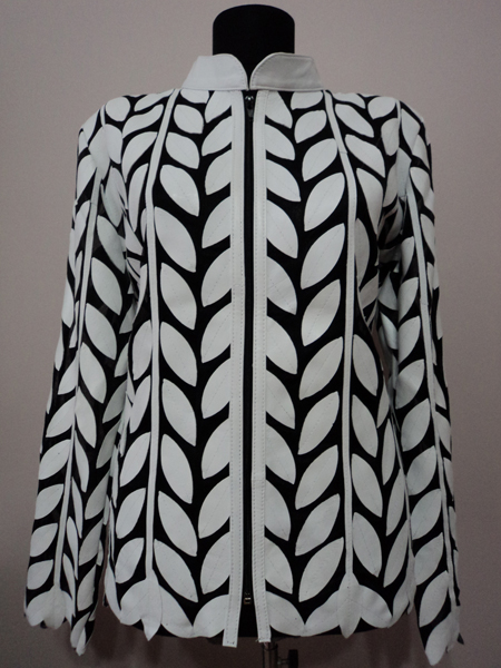 Plus Size White Leather Leaf Jacket for Women Design 04 Genuine Short Zip Up Light Lightweight [ Click to See Photos ]