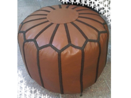 Purple Leather Pouffe Pouf Puff Footstool Ottoman [ Click to See Photos ]