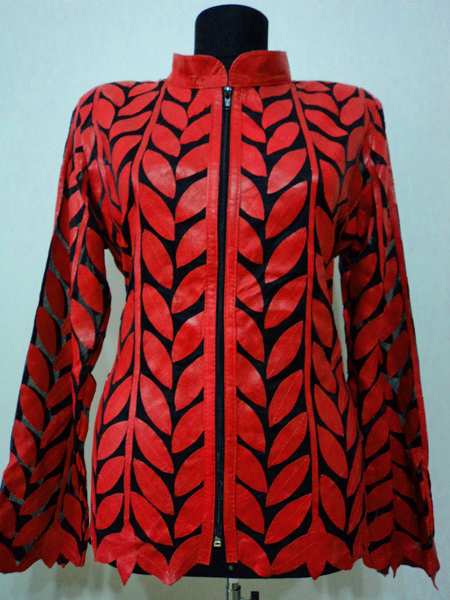 Red Leather Leaf Jacket Women Design Genuine Short Zip Up Light Lightweight