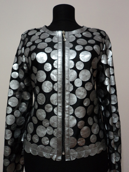 Silver Leather Leaf Jacket Women Design Genuine Short Zip Up Light Lightweight