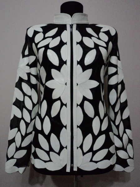 White Leather Leaf Jacket Women Design Genuine Short Zip Up Light Lightweight