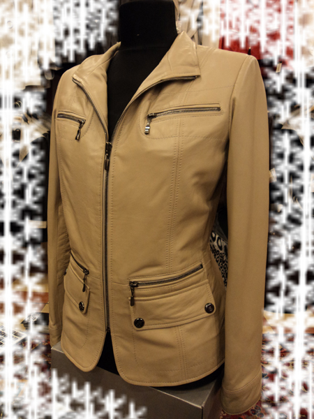 Womens Beige Leather Jacket