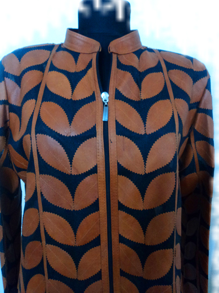 Brown Leather Leaf Jacket for Women