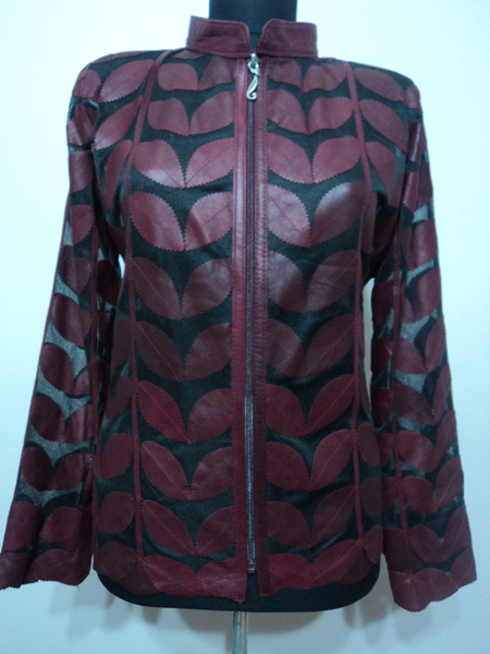 Plus Size Burgundy Leather Leaf Jacket for Women [ Click to See Photos ]