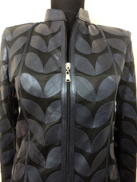 Plus Size Navy Blue Leather Leaf Jacket for Women