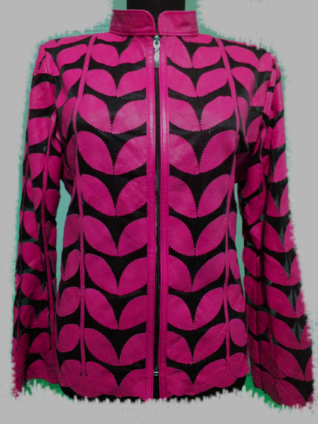 Plus Size Pink Leather Leaf Jacket for Women [ Click to See Photos ]