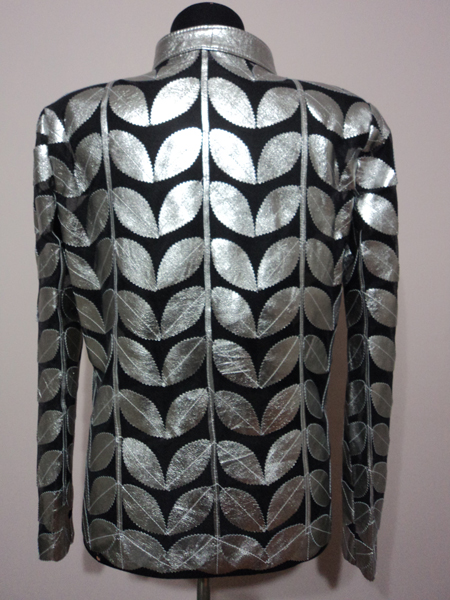 Plus Size Shiny Silver Gray Leather Leaf Jacket for Women