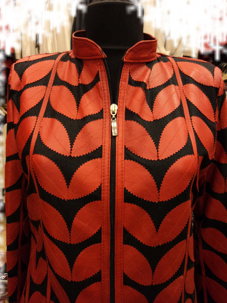 Womens Red Leather Leaf Jacket