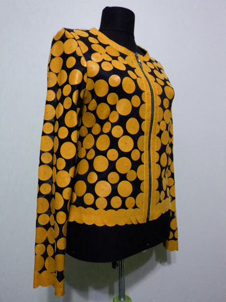 Yellow Leather Leaf Jacket Women Design Genuine Short Zip Up Light Lightweight